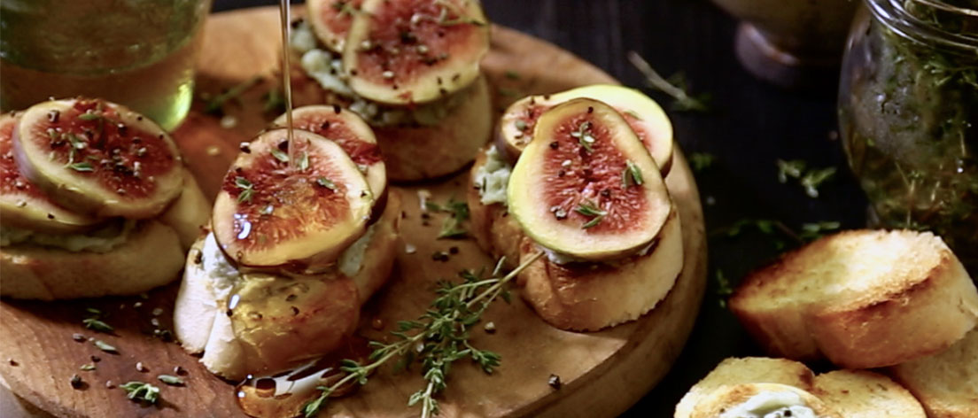 Fig, Gorgonzola and Honey Crostini